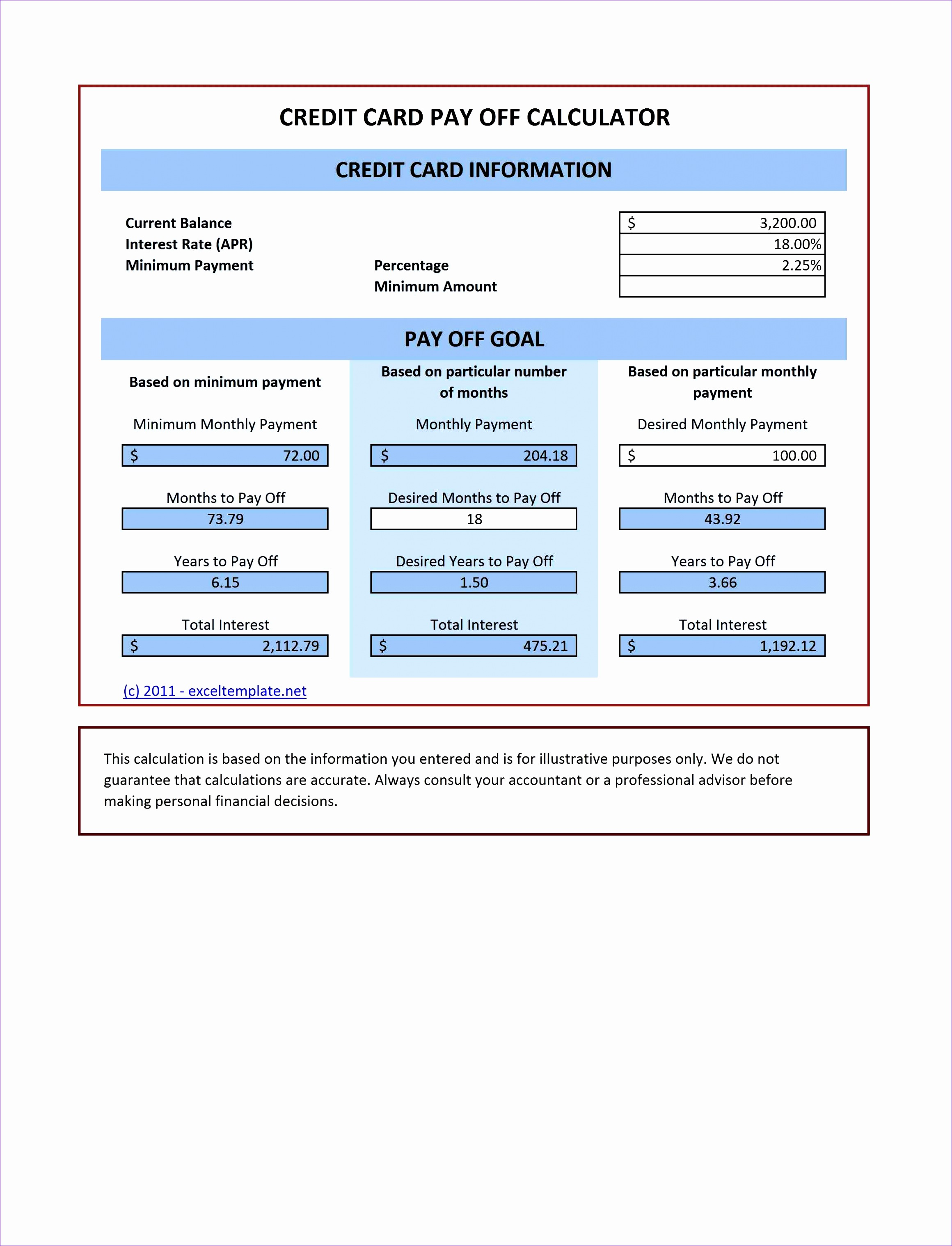 25 Credit Card Pay f Calculator V1 11