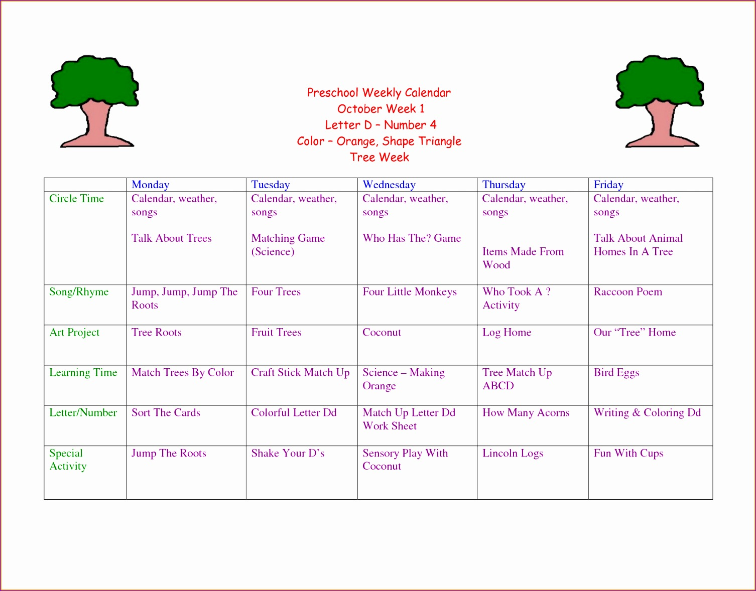 5 preschool weekly lesson plan