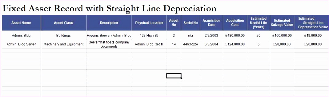 Fixed Asset Depreciation Excel