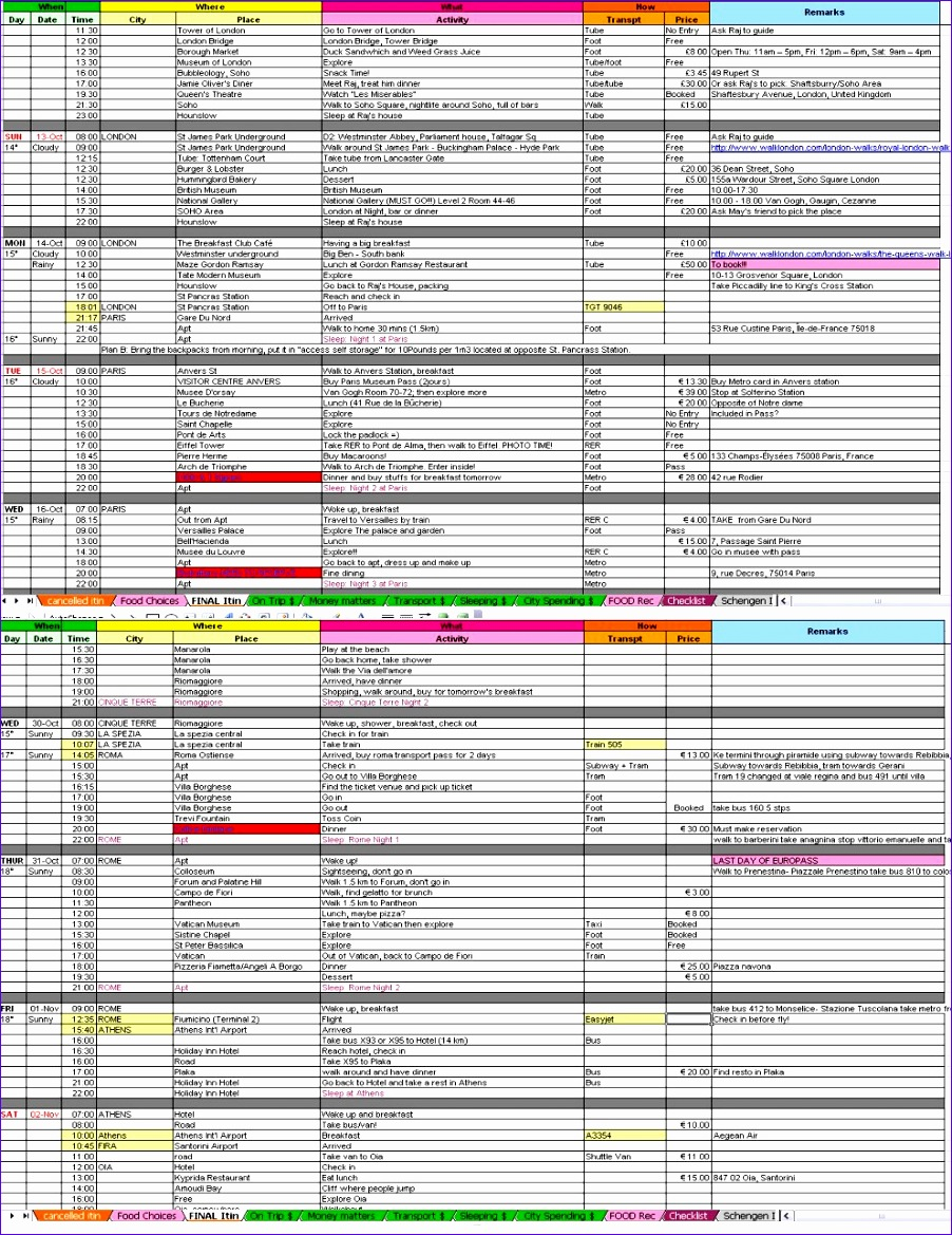 9 flight itinerary template excel