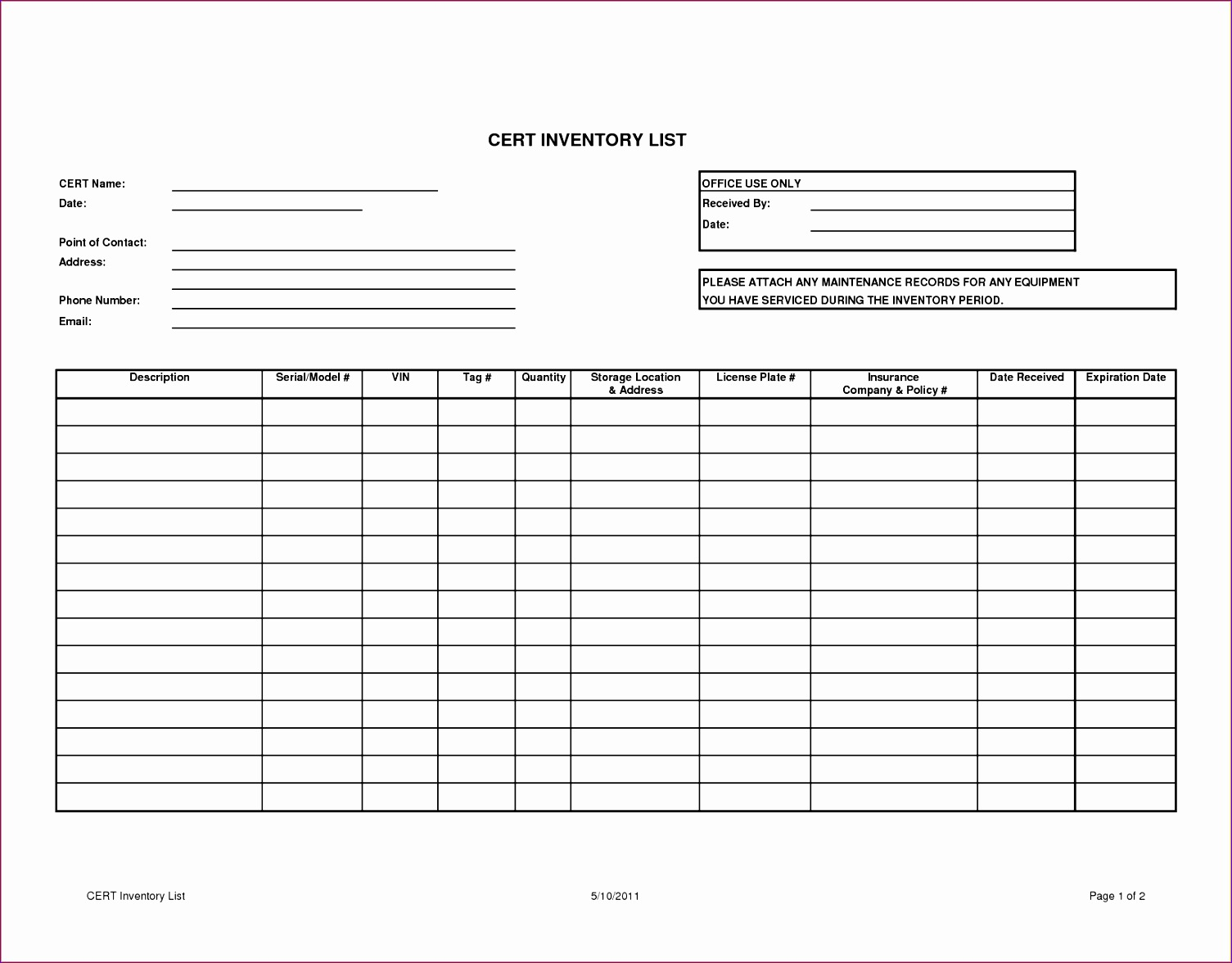 Cert Inventory List Template Freec Printable