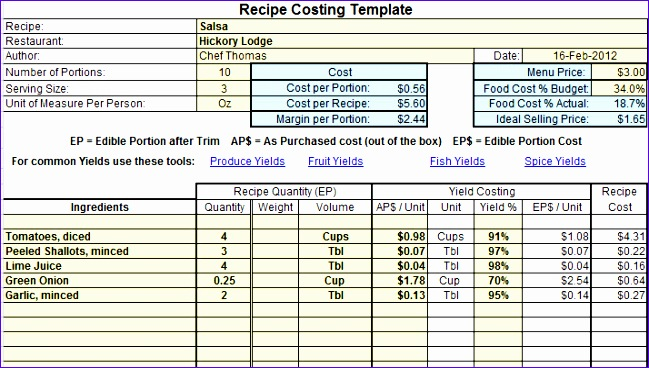 Recipe Costing Template example 1