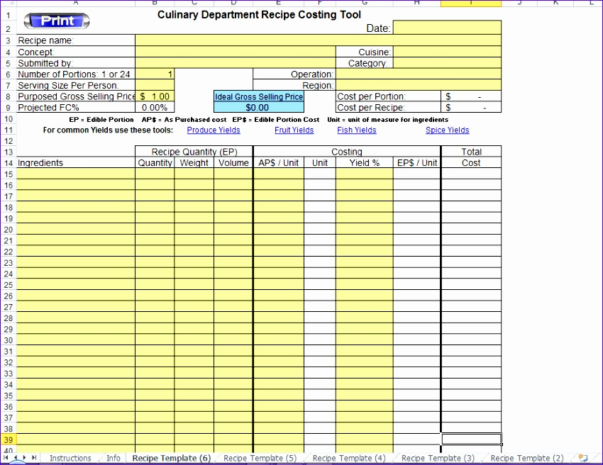 Food Cost Excel Template Jkleh Fresh Excel Recipe Template for Chefs