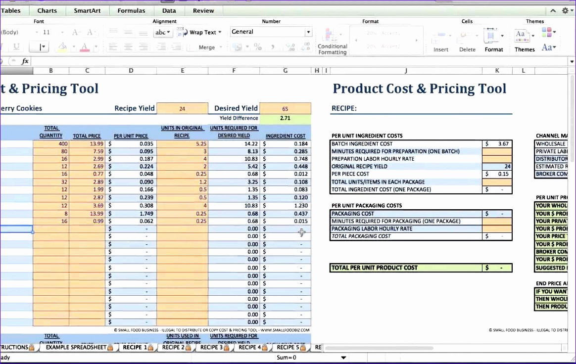 Pricing Excel Template