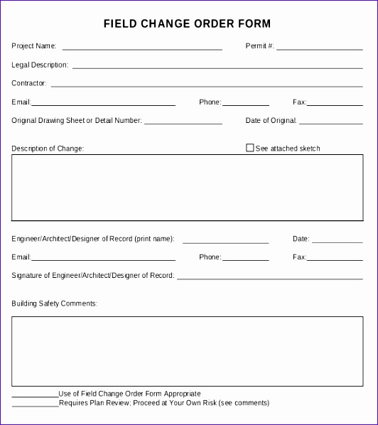 Sample Field Change Order Form Free Download