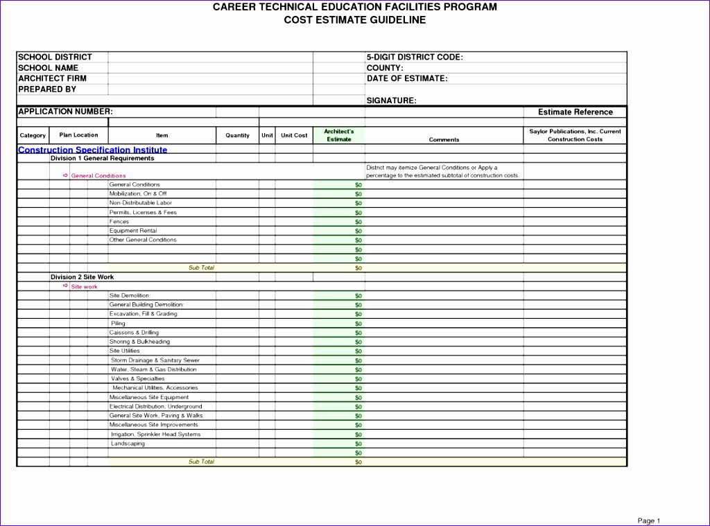 11 free construction cost estimate excel template for Free online building cost estimator