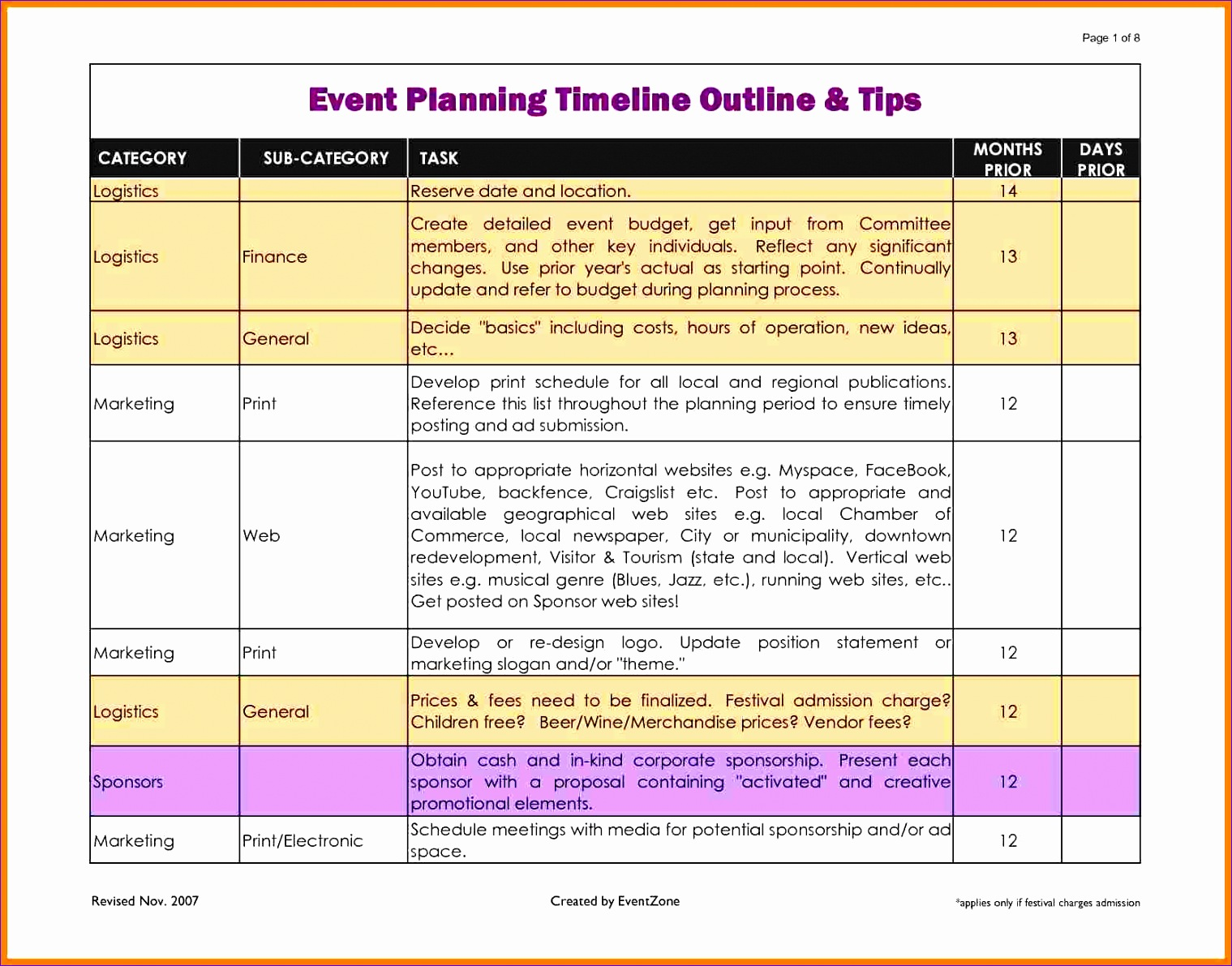 event planning timeline template excel 13