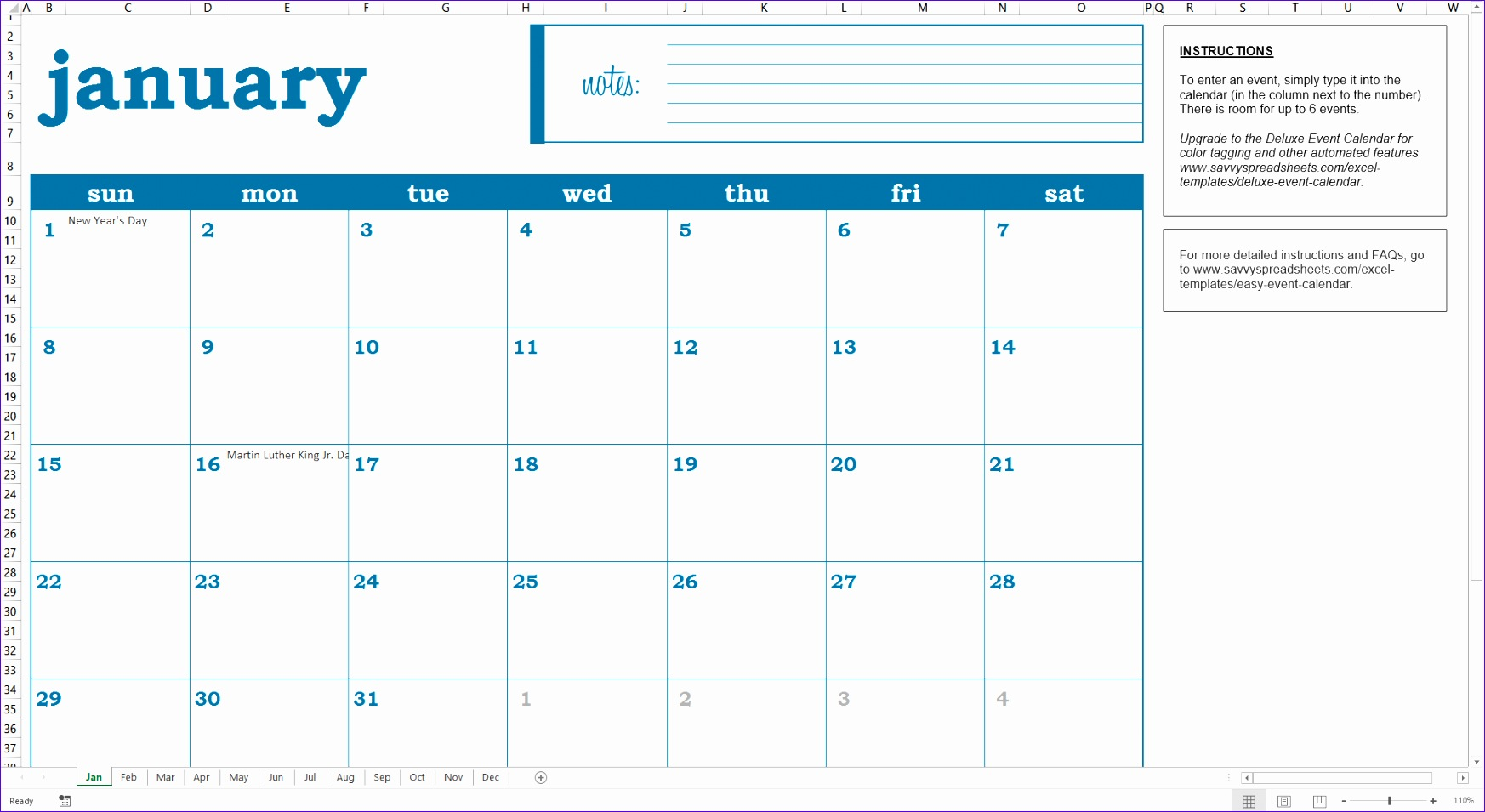 Calendar Maker software for Microsoft Word & Excel