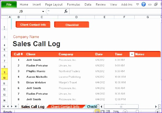 Log Calls and Notes for Each Sales Call Made