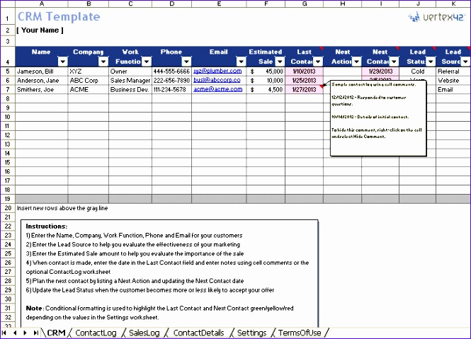 crm template in excel