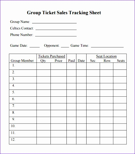 Group Ticket Sales Tracking Template PDF Download