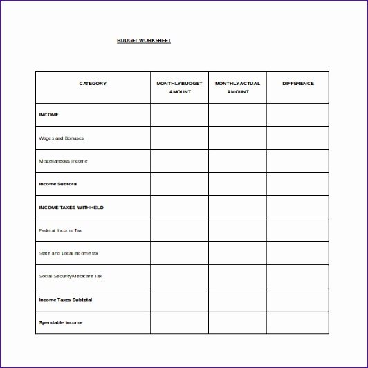 Monthly Bud Spread Word Template Free Download