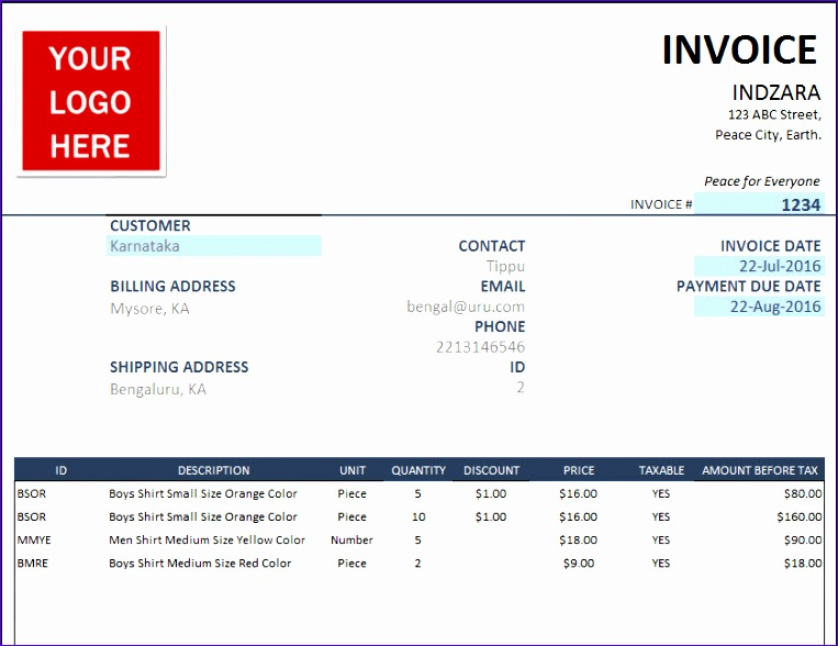 Invoice Excel Template header