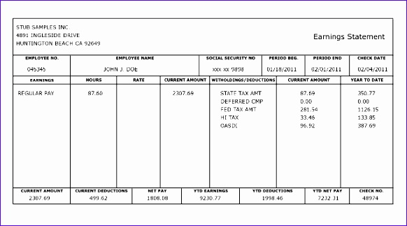 Free Paystub Template Excel Download Gssbh Beautiful Pay Stub - Free paystub template download