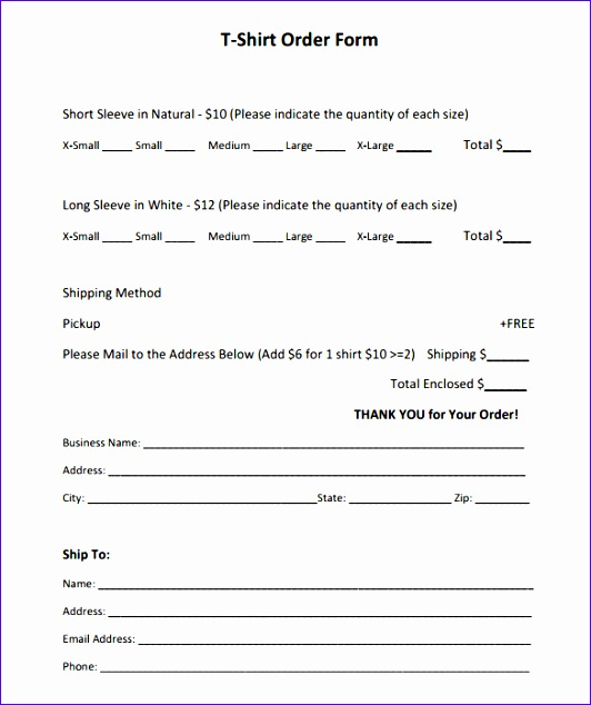 Short Sleeve T Shirt Order Form Template PDF Printable