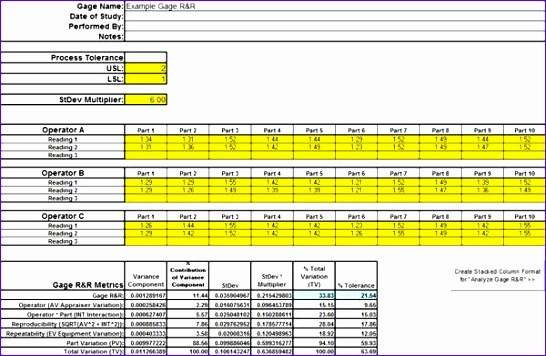 6 gage r r excel template exceltemplates exceltemplates for Attribute gage r r excel template