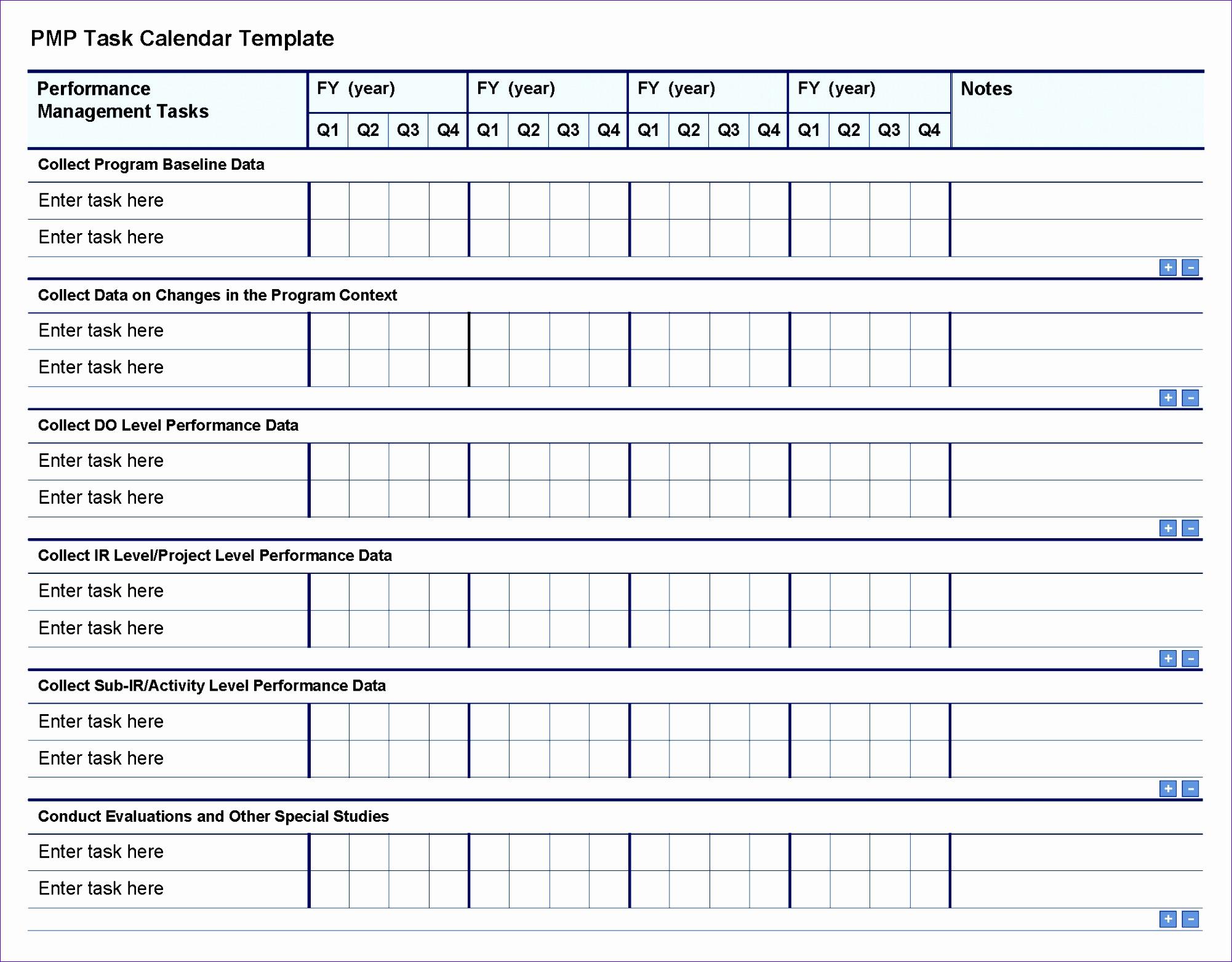 55 pmp task calendar template Page 1