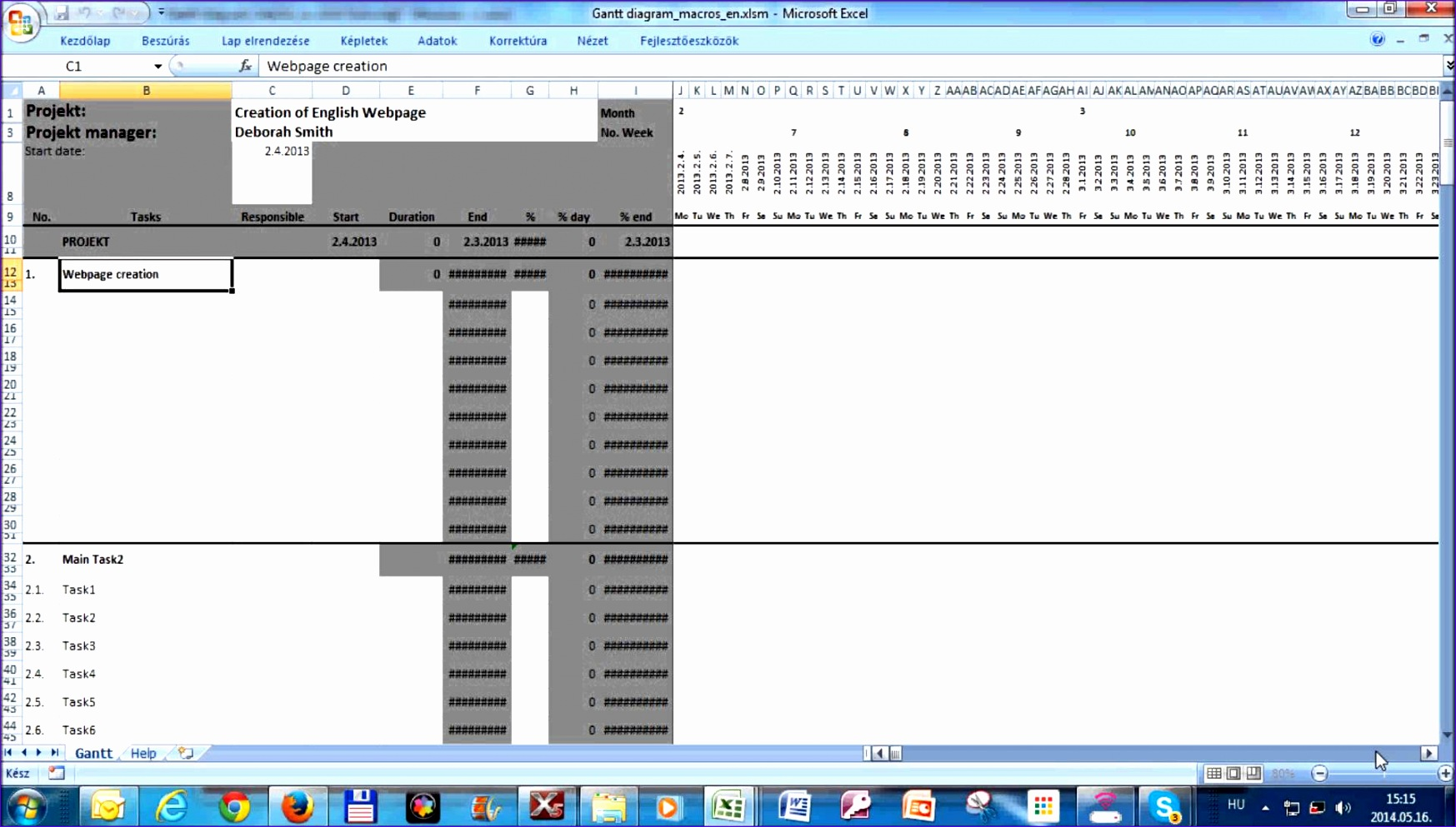 how to create a gantt chart in excel 2010 youtube