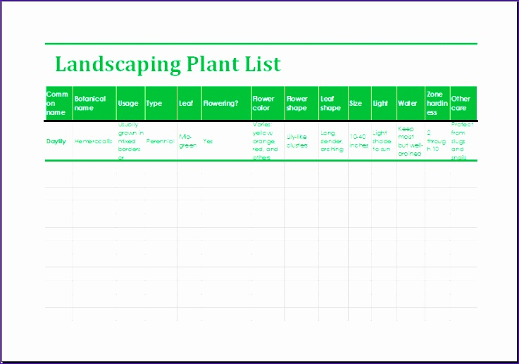 Garden Budget Planner Egsbw Beautiful Landscaping Plant List Template Ms Excel