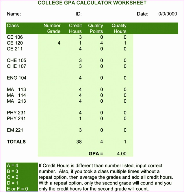 College GPA Calculator for Excel