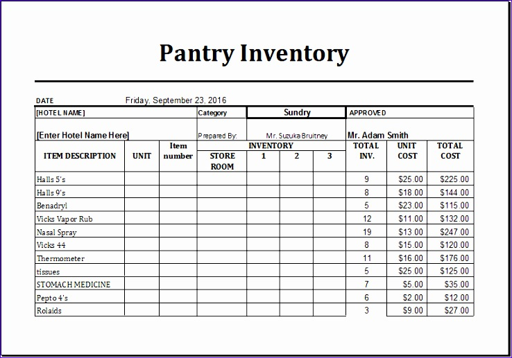 Grocery Inventory List Template Ntved Lovely Ms Excel Printable Pantry Inventory Template