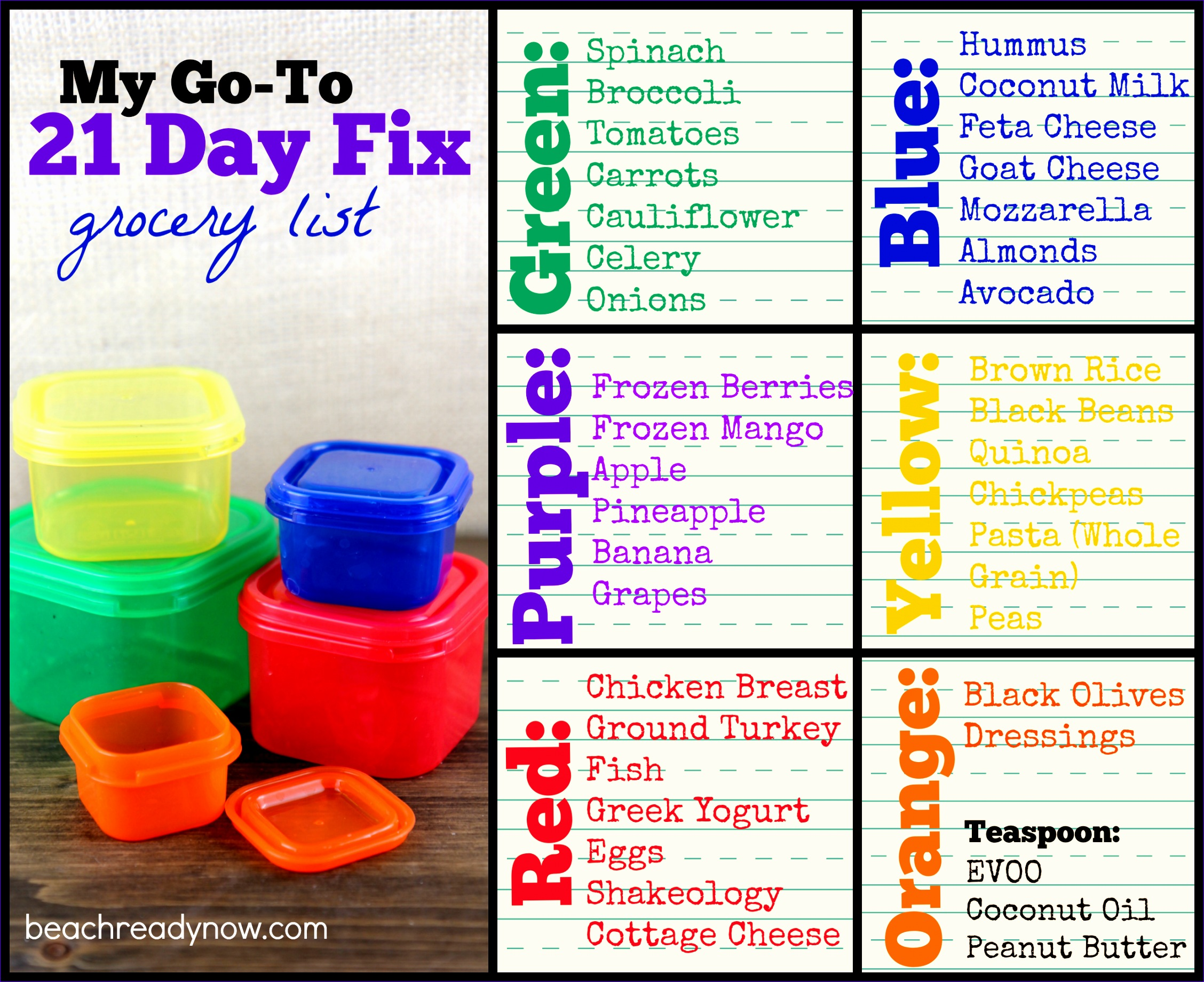 21 day fix grocery list shopping list sFTHMa
