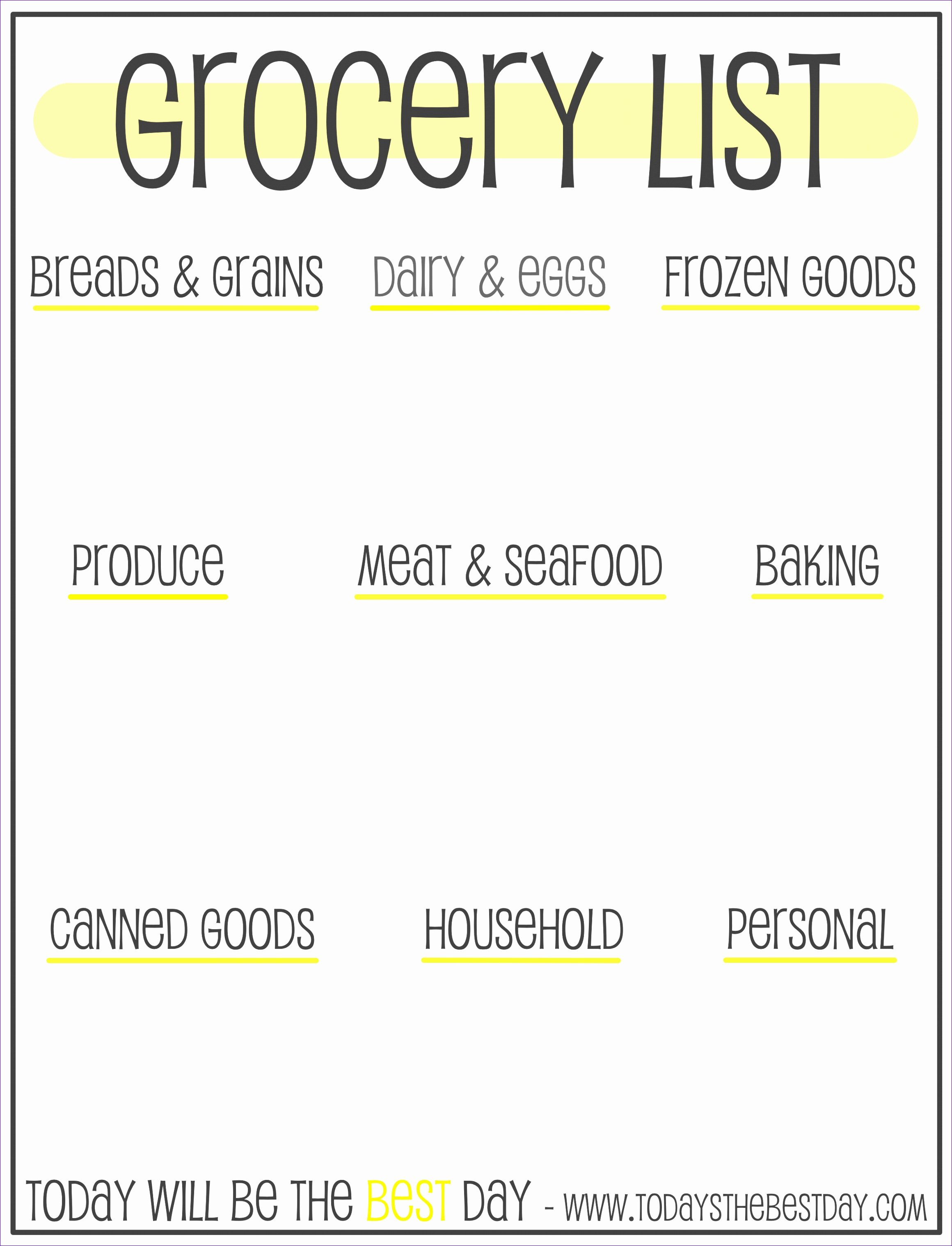 Free Printable Grocery List Organizer