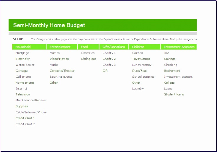 Home Maintenance Schedule Gtgxs Best Of Semi Monthly Home Bud Sheet for Excel
