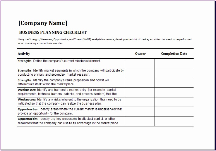 business planning checklist