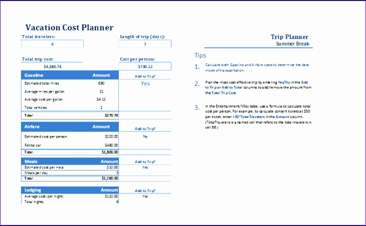 vacation cost planner