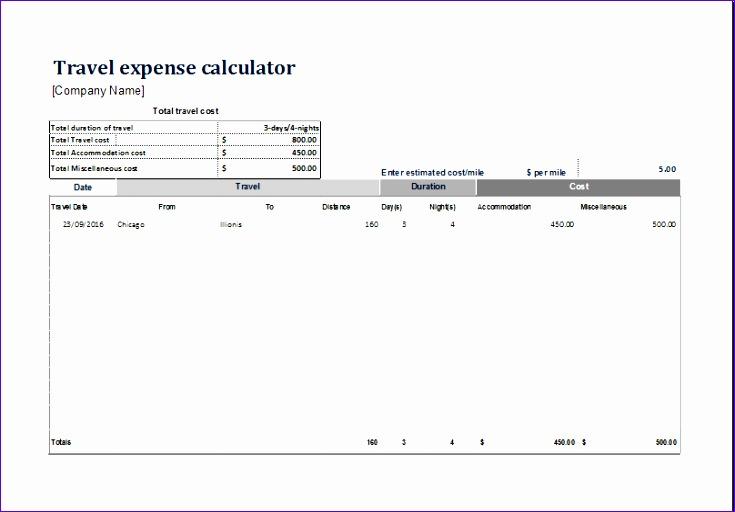 Travel expense calculator