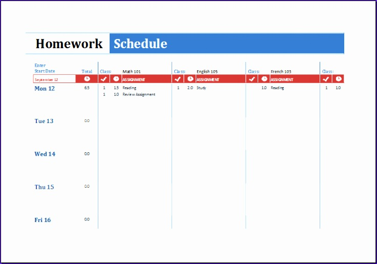 Homework Schedule Template Meph2 New Ms Excel Printable Homework Schedule Template