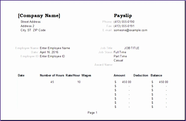 Hourly Price Quotation 3yuws Unique Employee Payslip Template for Ms Excel