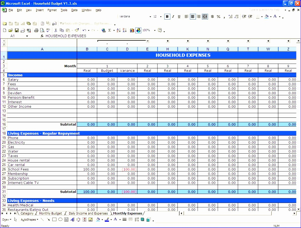 9 household budget template excel 2010 exceltemplates