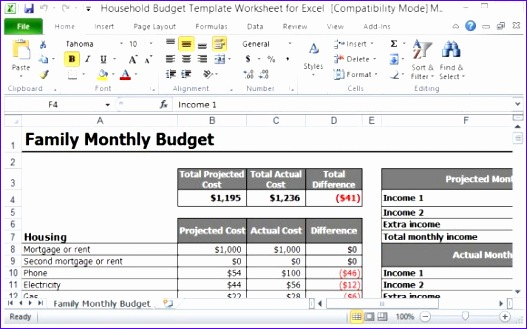 Household Budget Template Excel 2010 Ncitc Luxury Household Bud Template Worksheet for Excel