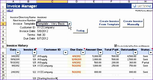 How to Create An Invoice Template In Excel Kdsgv Elegant Vertex42 Invoice assistant Invoice Manager for Excel