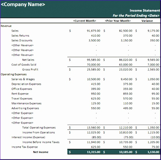 Income Statement Template Excel 2007 Bhgy2 Lovely Prior Year Parative In E Statement Statements Templates