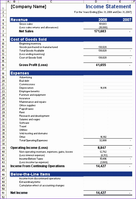 Income Statement Template Excel 2007 Tcvkd Unique In E Statement Template for Excel