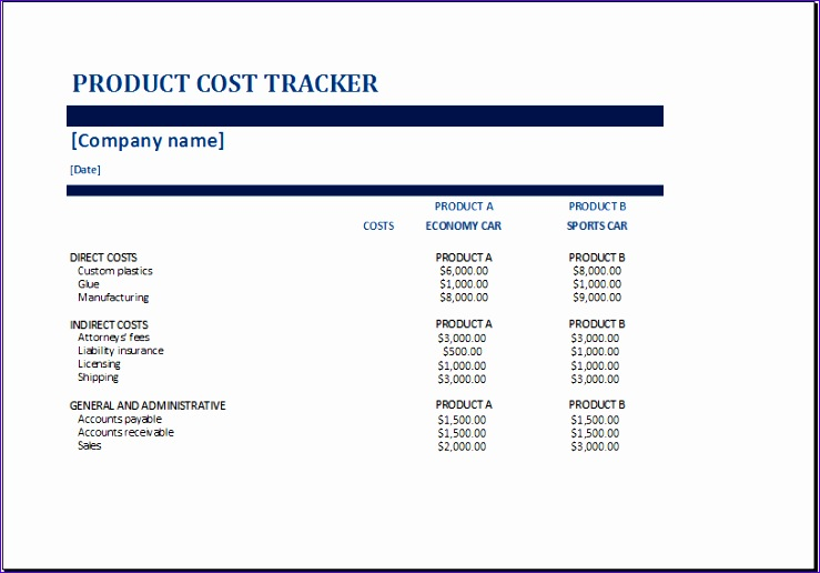 product cost tracker