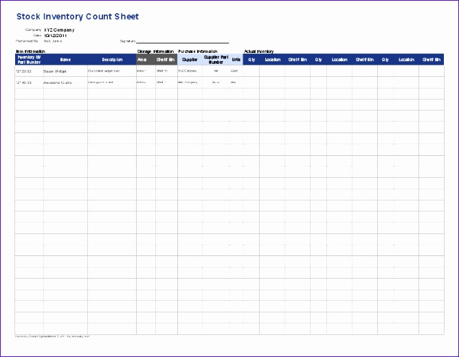 stock inventory count sheet