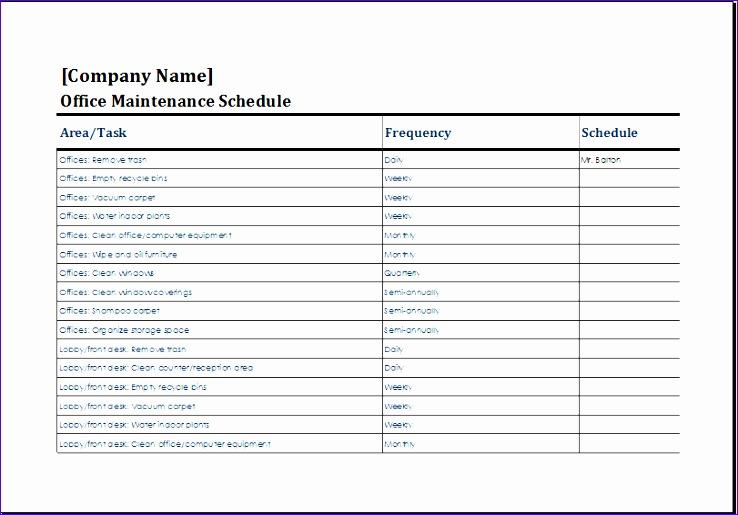 office maintenance schedule