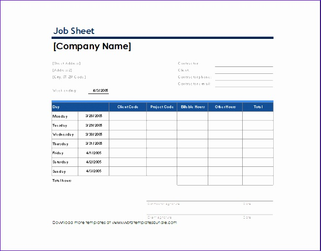 Job Sheets Templates Excel  Exceltemplates  Exceltemplates