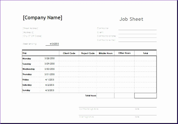 Job Sheets Templates Excel Ieeil New Sample Job Sheet Template for Ms Excel