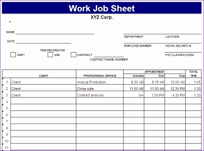 Job Sheets Templates Excel Vukxv Best Of Free Job Sheet Template