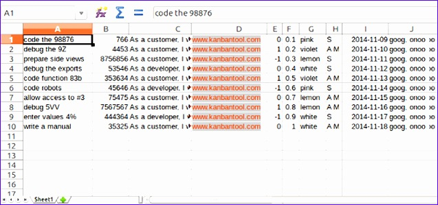 an excel file prepared for kanban tool export