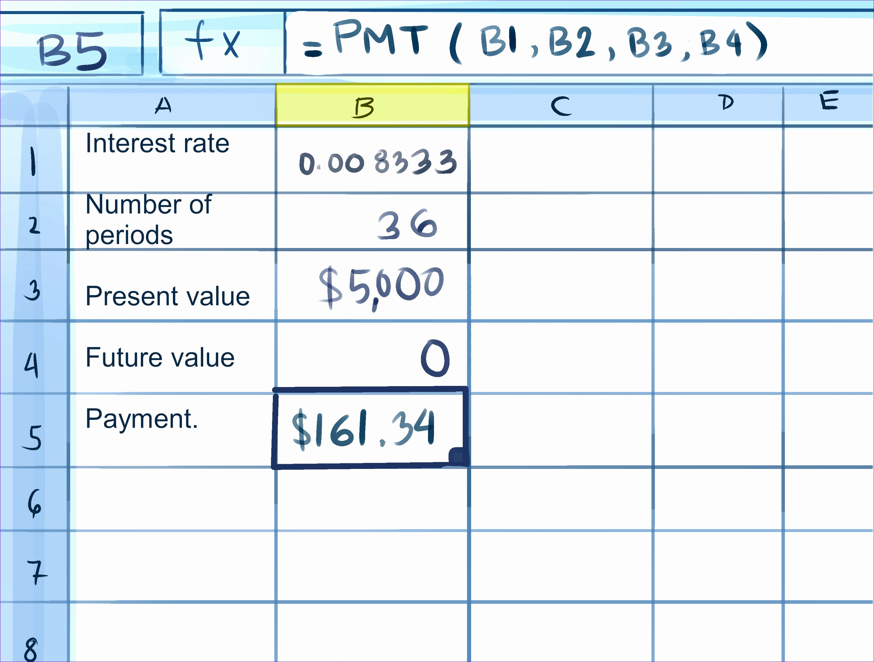 Calculate Credit Card Payments in Excel Step 10