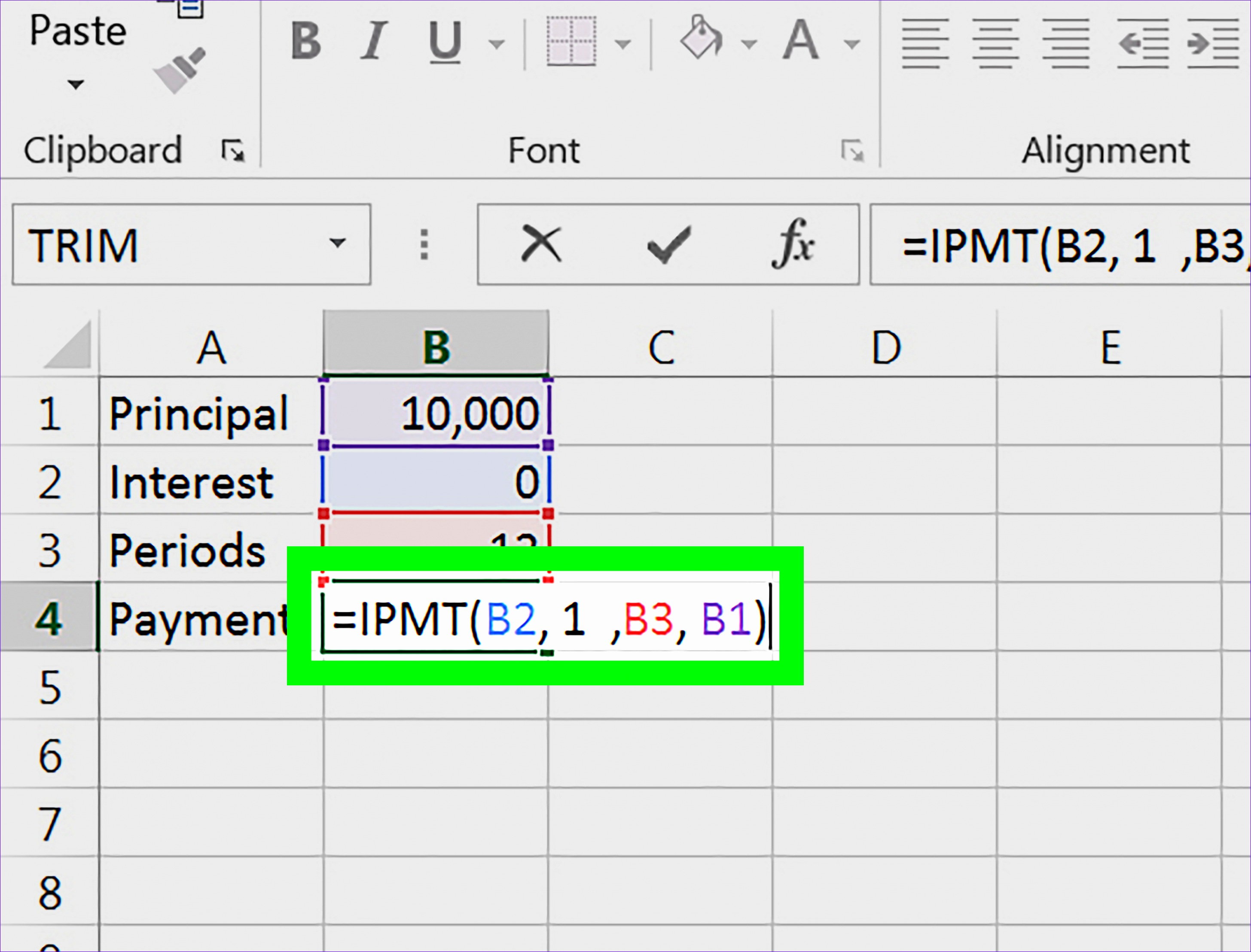 Calculate an Interest Payment Using Microsoft Excel Step 8
