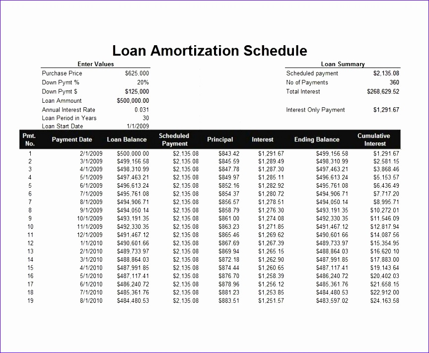 6 loan repayment excel template