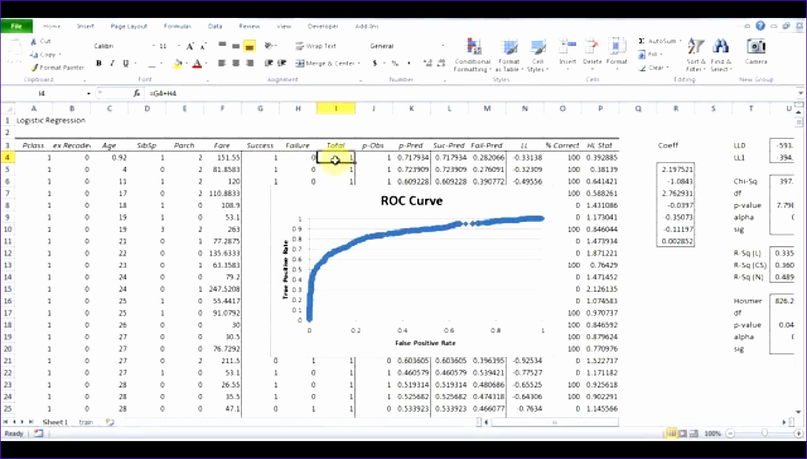 Logistic Regression Excel Template Hhldv New Logistic Regression Using Excel