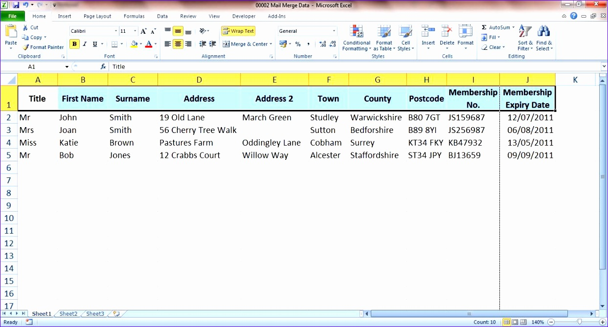 using mail merge with an excel table